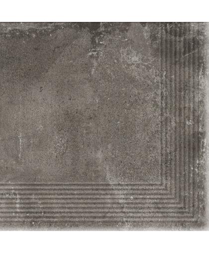 Пиатто / Piatto Antracite tread tile (ступень угловая) 300 х 300 (под заказ)