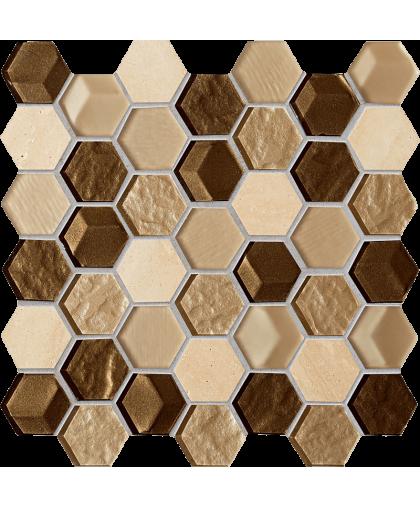 Дропс / Drops stone brown hex mosaic 300 х 298