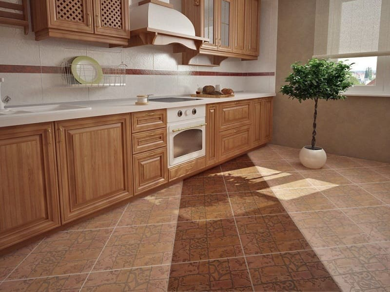 Диагональная укладка плитки на кухне