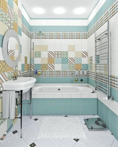 Ванная с квадратной плиткой