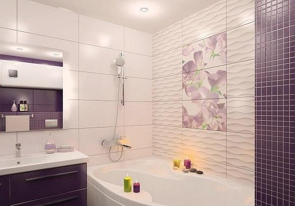 Ванная с волнистой плиткой